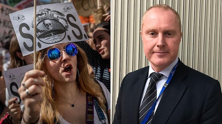 Till vänster: klimatdemonstrant i Madrid. Till höger: Mattias Frumerie, Sveriges tillförordnade chefsförhandlare vid FN:s klimatmöte i Madrid.