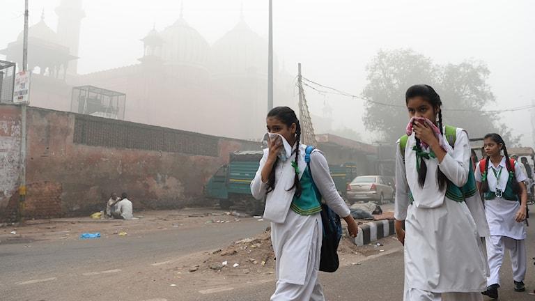 Indiska skolbarn skyddar sig från smogen.