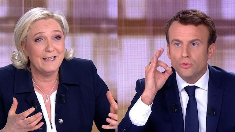 Marine Le Pen och Emmanuel Macron i tv debatt