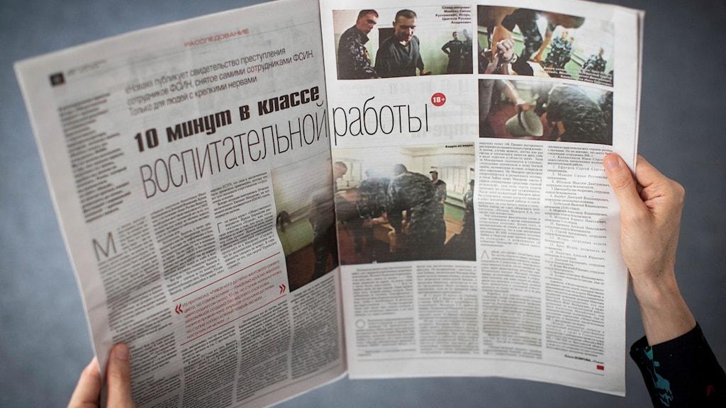 Uppslag i rysk tidning som visar bilder från misshandeln.
