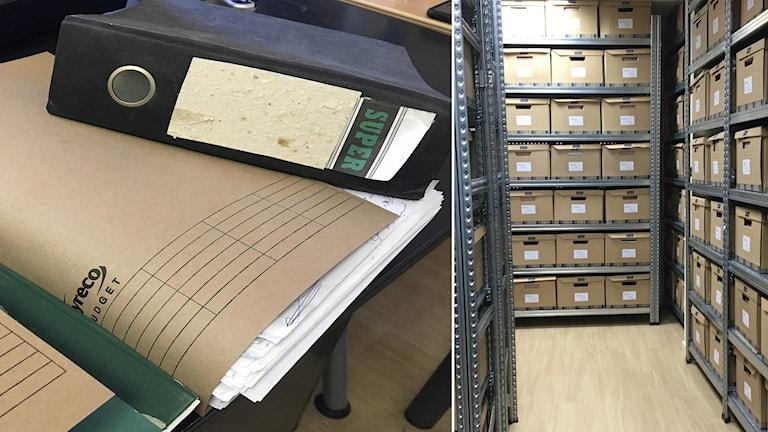 Delad bild: Tjock dokumentmapp, pappkartonger i hyllor.