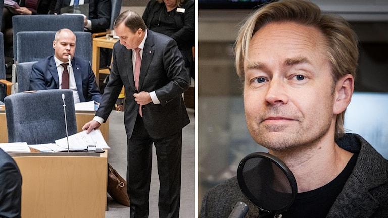 Morgan Johansson, Stefan Löfven och Fredrik Furtenbach. Bilden är ett montage.