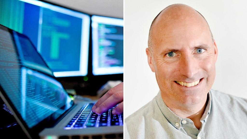 Datorer och Andreaz Strömgren, kommunchef Timrå.