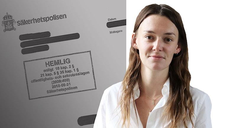 Ett montage med hemliga dokument på ena sidan och ett foto av reporter Sanna Drysén på andra sidan.