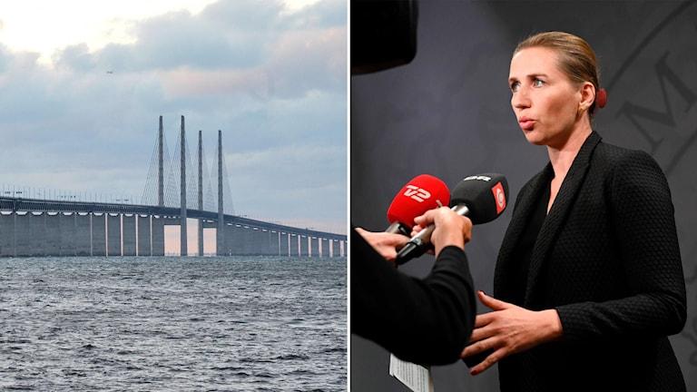 bild på öresundsbron och danmarks statsminister Mette frederiksen