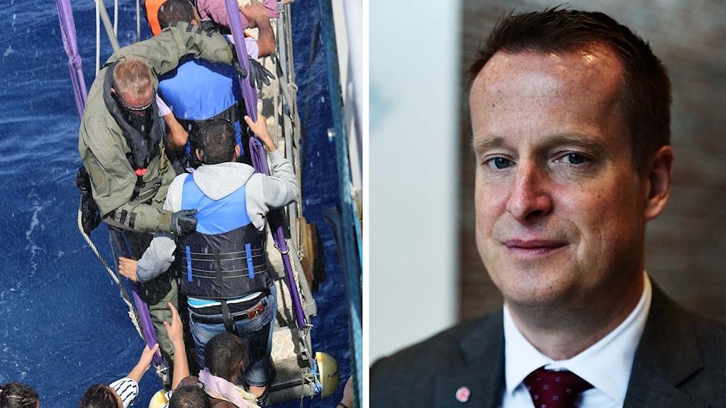 Personal från svenska kustbevakningen räddar flyktingar i Medelhavet, inrikesminister Anders Ygeman.