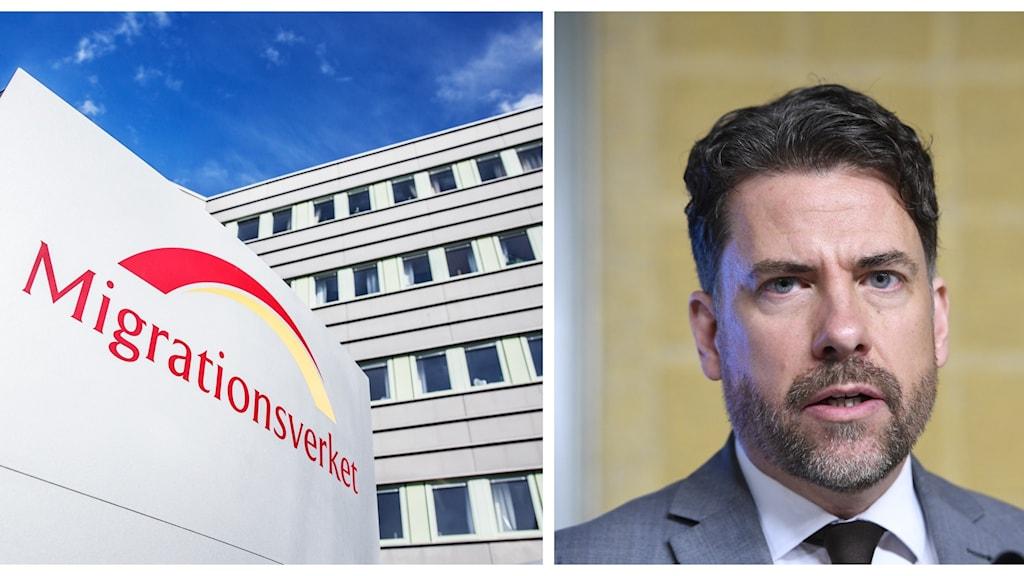 Ett collage med en bild på Migrationsverkets logga och Migrationsverkets generaldirektör Mikael Ribbenvik.