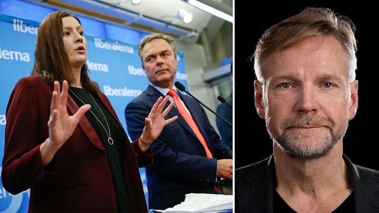 Bildmontage av Liberalernas Birgitt Ohlsson och Jan Björklund samt Ekots kommentator Tomas Ramberg.