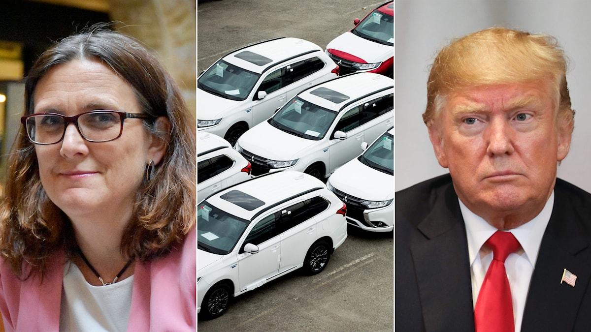 Tredelad bild: Kvinna, bilar och man.