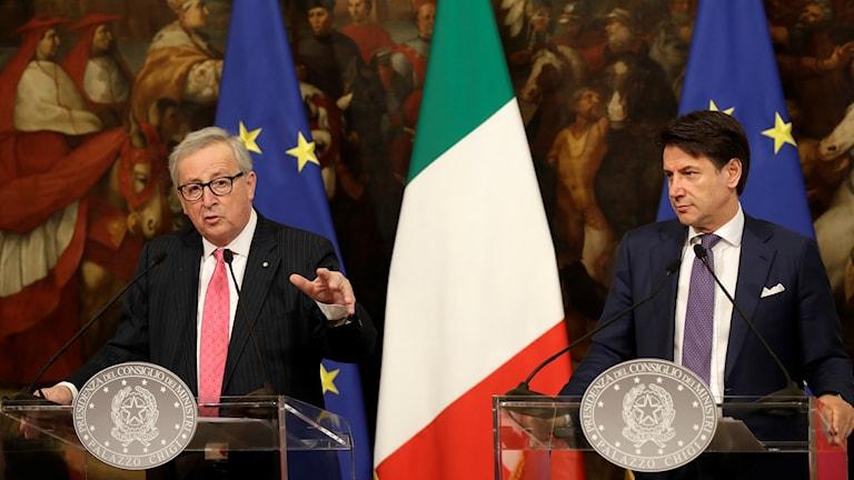 Jean-Claude Juncker och Italiens premiärminister Giuseppe Conte