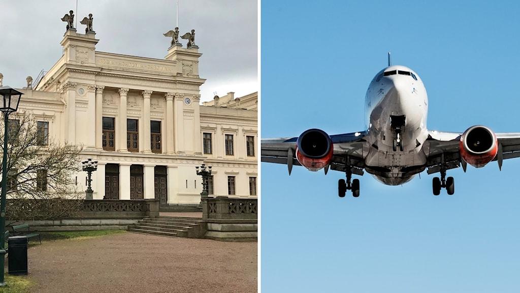 Universitetshuset i Lund och ett flygplan.