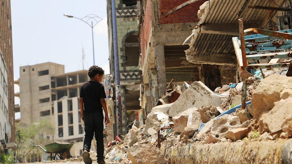 Staden Taiz i Jemen.