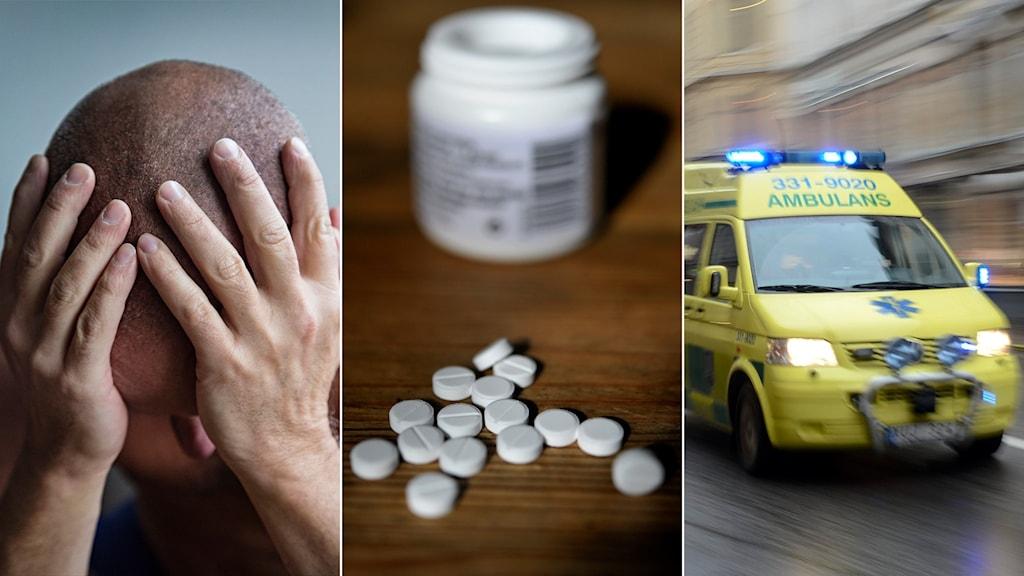 Tredelad bild: Deprimerad man, pillerburk, ambulans under utryckning.