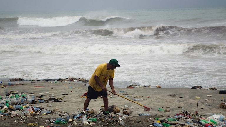 En man krattar skräp på stranden efter Matthews framfart på Santo Domingo.