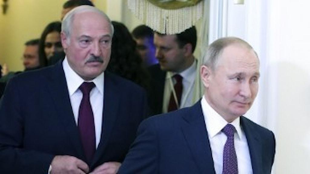 Vladimir Putin, Rysslands president och Alexander Lukasjenko, president i Belarus.