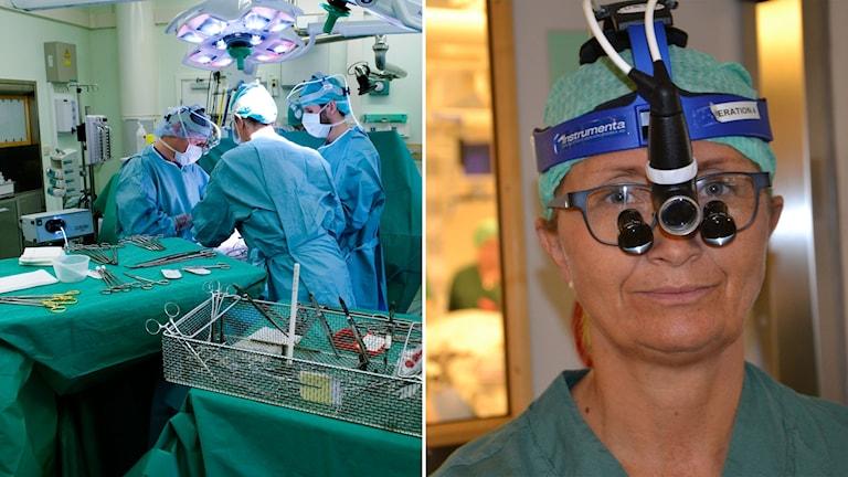 Delad bild: Operationssal och kirurg med förstoringsglasögon på sig