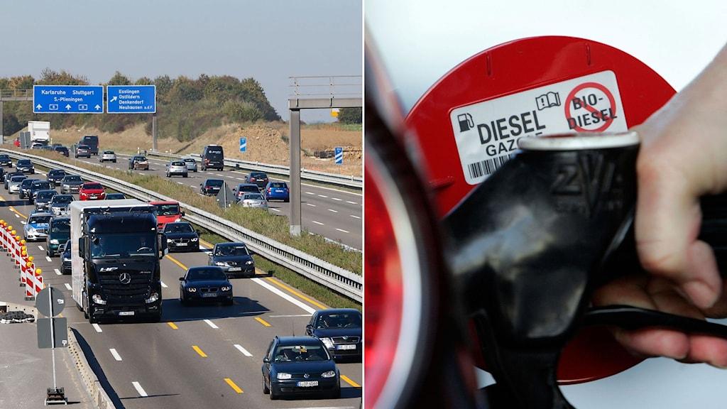 Trafikerad motorväg i Tyskland. Till höger en bil tankas med diesel.