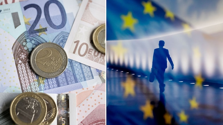 Eurosedkar och en EU-flagga.
