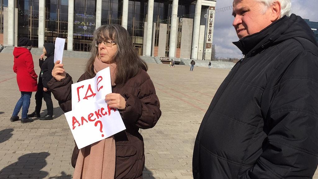 Var är Aleks, står det på skylten och syftar på president Lukasjenka, som inte sagt något sen protesterna