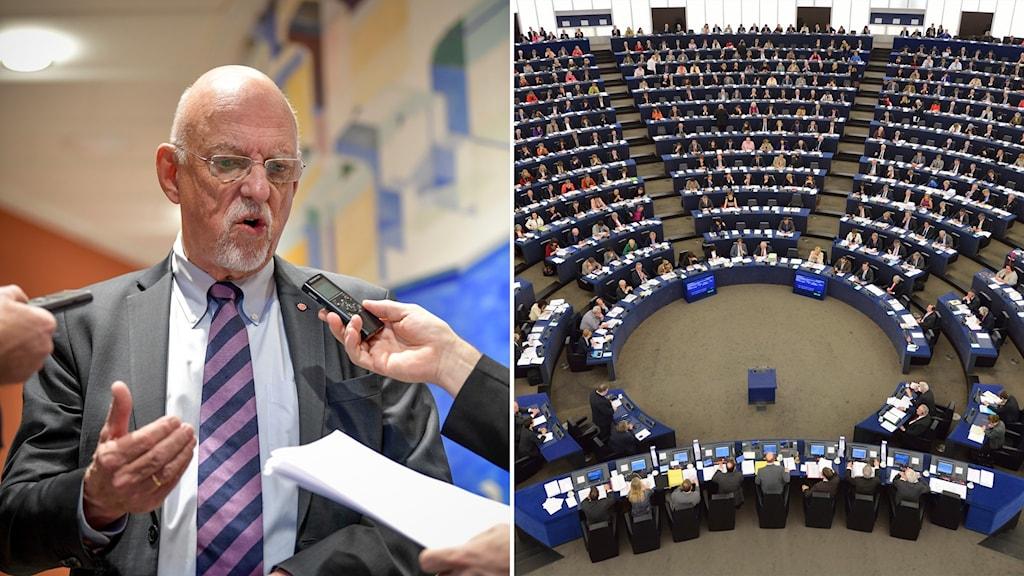 Delad bild på EU-minister Hans Dahlgren och EU-parlamentet.