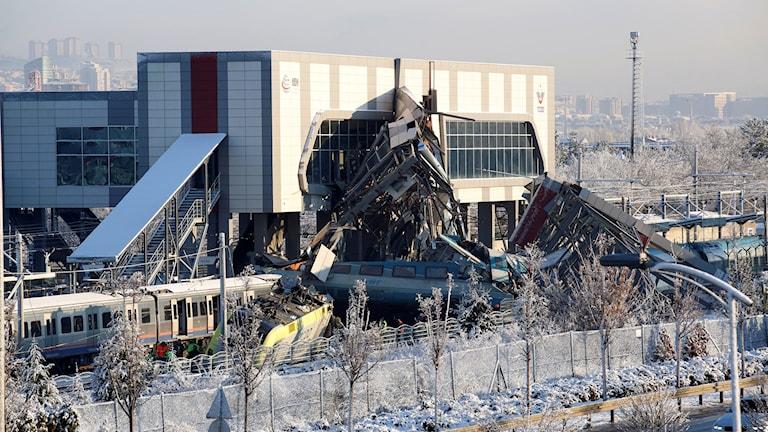 Tågkrasch i Ankara.