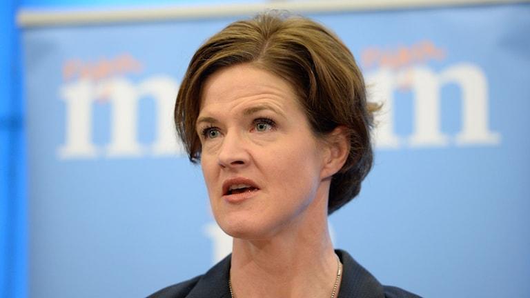 Moderaternas partiordförande Anna Kinberg Batra talar på Sverigemötet i Malmö