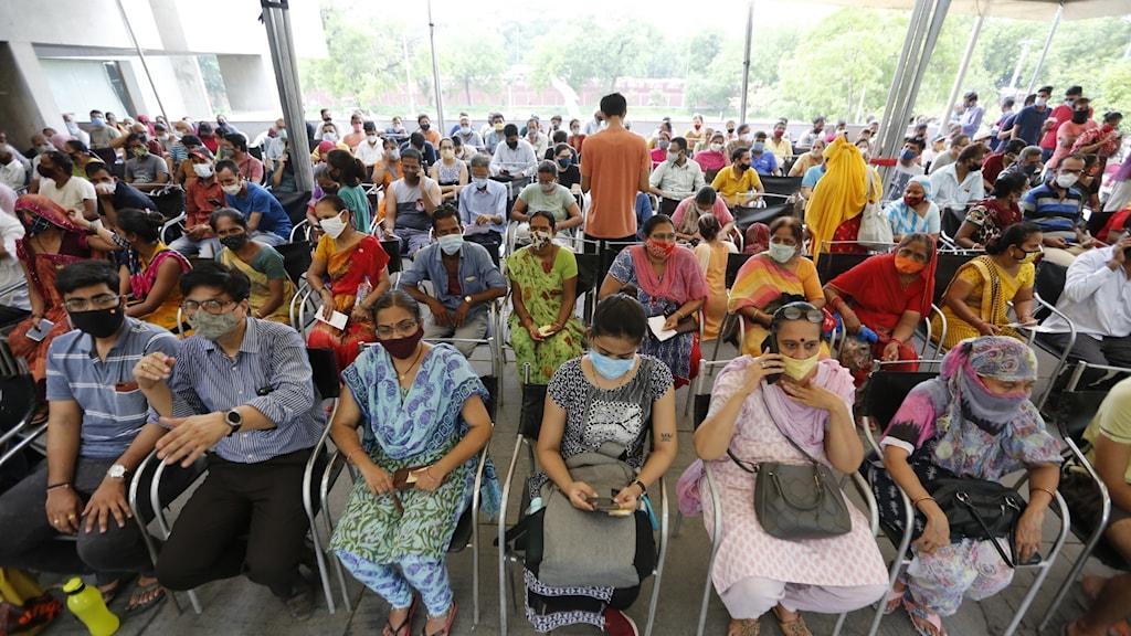 Människor i väntan på att bli vaccinerade i Ahmedabad, Indien.