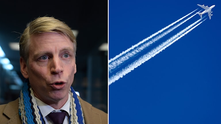 Two pictures. Sweden's deputy finance minister Per Bolund, of the Green Party, and also a picture of a plane and vapour trails.