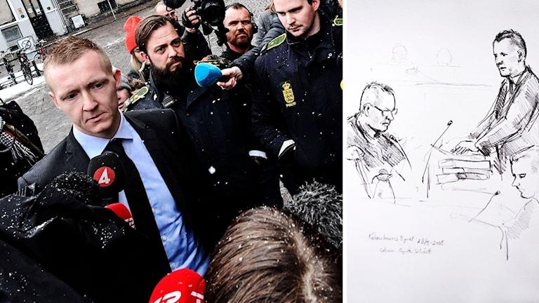 Stort medieintresse (på bilden: åklagare Jakob Buch-Jepsen). Tecknad bild inifrån rättssalen. Foto: Johan Nilsson/Anne Gyrite Schuett (teckning)/TT. Montage: Sveriges Radio.