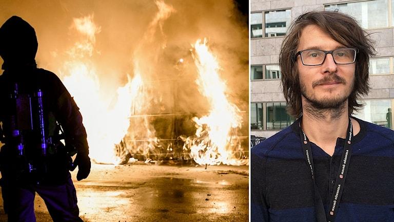 montage: brandbam framför bilbrand och ung kille i mörkbrunt hår och glasögon