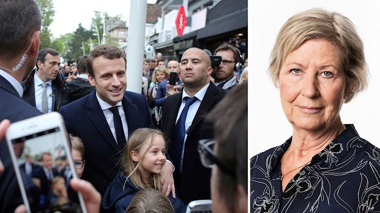 Emmanuel Macron, Sveriges Radio Agneta Ramberg.
