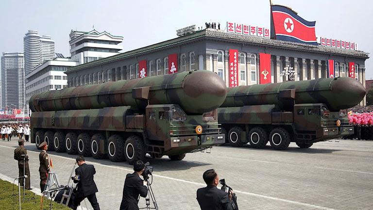 Robotar i den stora parad som genomfördes i Nordkoreas huvudstad Pyongyang under lördagen.