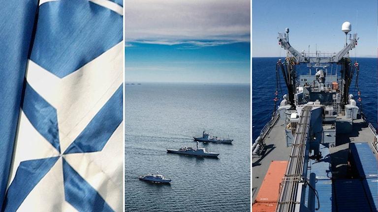 Natos flagga och militärfartyg.