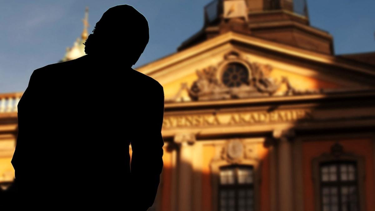 Montage. Svenska akademien i bakgrunden och en silhuettbild av kulturprofilen i förgrunden.