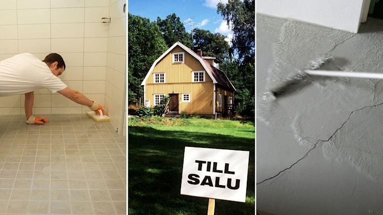 Hantverkare lägger golv i badrum. Gul villa till salu. Golvmopp som försöker dra undan vatten efter vattenläcka.