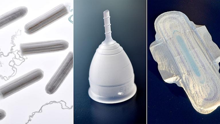 Olika hygienprodukter, tampong, menskopp och binda.