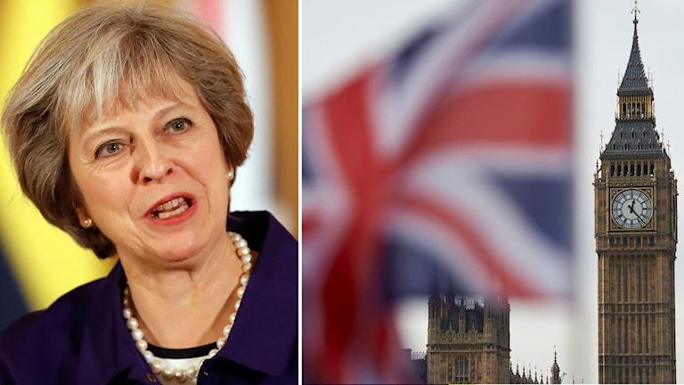 Delad bild. Theresa May och en brittisk flagga som vajar i vinden framför Big Ben.