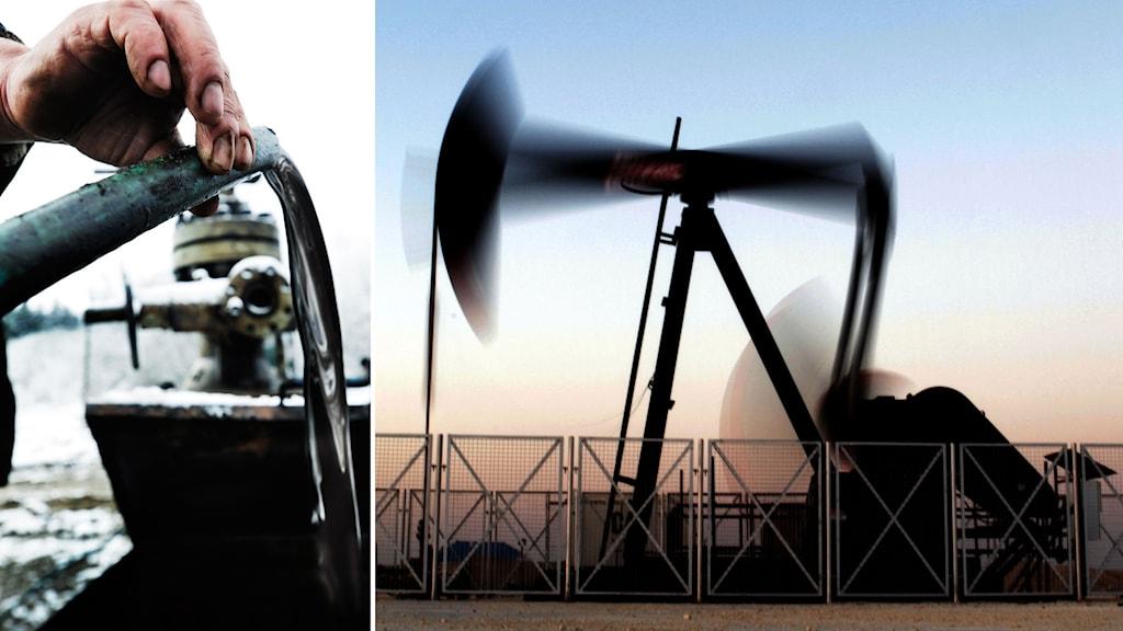 Tvådelad bild: en man häller olja och en oljeborr