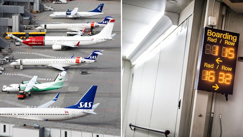 Flygplan och en skylt som visar boarding