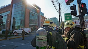 Brandkår på plats vid sjukhuset i Chile.