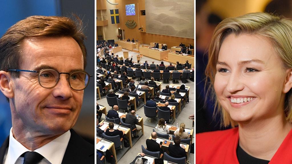 Moderaternas partiledare Ulf Kristersson, riksdagen, Kristdemokraternas partiledare Ebba Busch Thor.