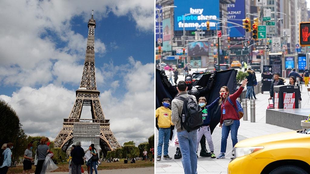 Eiffeltornet och turister på Time square i New York.