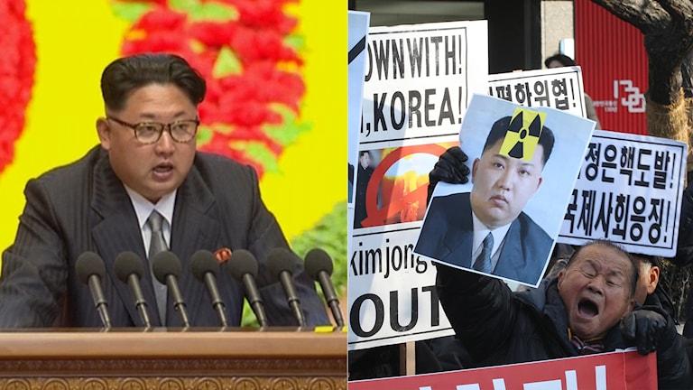 Nordkoreas ledare Kim Jong Un och sydkoreanska protester mot Nordkorea.