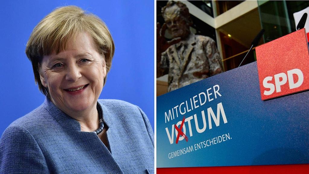 Angela Merkel, SPD-medlemsomröstning. Foto: TT/Montage: Sveriges Radio.
