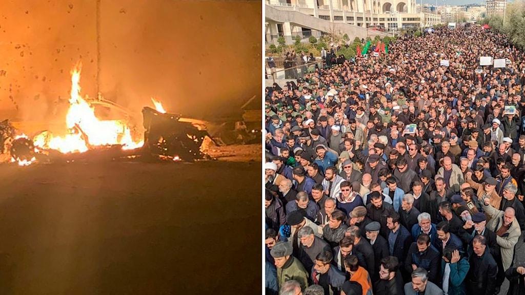 Protester i Teheran efter att USA dödade Qassem Soleimani. Till vänster: Bilden som publicerades av  Iraks premiärministerns presstjänst visar en brinnande bil på Bagdads Internationella flygplats. Foto: AP/TT/AP Photo/Vahid Salemi. Montage: Sveriges Radio.