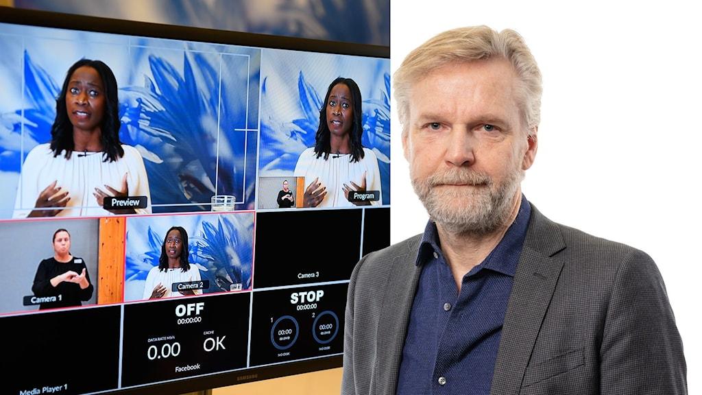 Montage med bilder av Liberalernas partiledare Nyamko Sabuni på en skärm och Ekots inrikespolitiske kommentator Tomas Ramberg