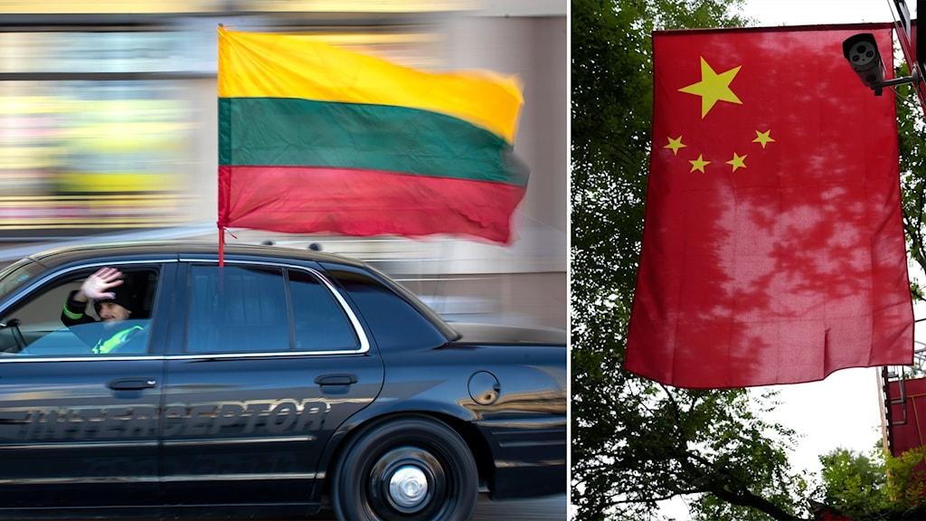 Delad bild: Bil med den litauiska flaggan, kinas flagga hänger från en flaggstång.