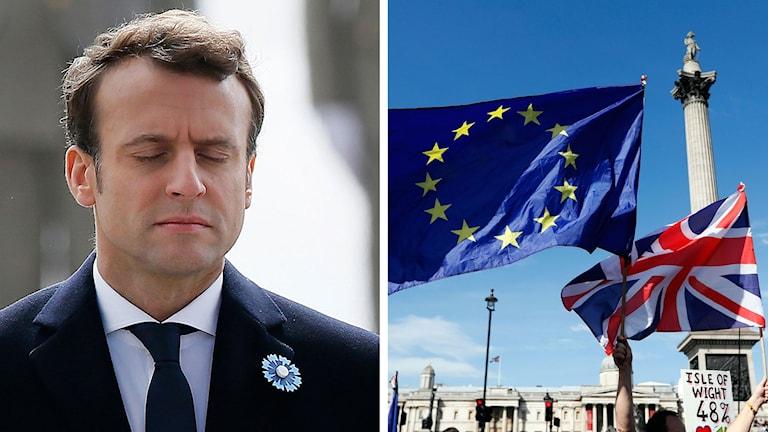 Emmanuel Macron Union Jack Europa flagge