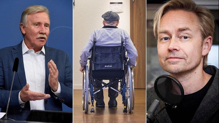 Tredelad bild: Utredaren Ilmar Reepalu pratar, en gammal man sitter i en rullstol och porträttbild på Ekots Fredrik Furtenbach