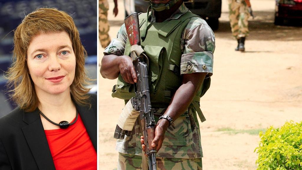 Malin Björk, europaparlamentariker för Vänsterpartiet och soldat i Niger, montage.